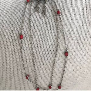 Paparazzi long necklace. Silver. Red stones.